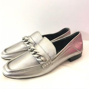 Dolce Vita 6 Loafers Cowan Slip On Leather Silver
